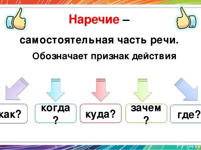 Наречие – самостоятельная часть речи. Обозначает признак действия как? где? когда? куда? зачем?