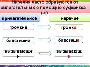 Наречия часто образуются от прилагательных с помощью суффикса –о (-е). громкий г