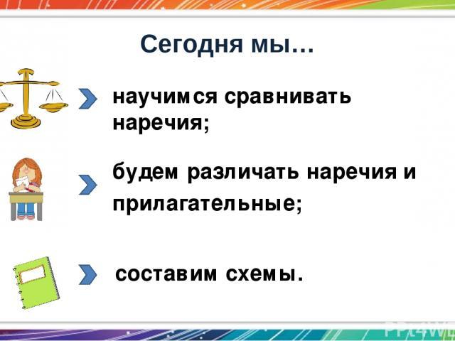Сегодня мы… научимся сравнивать наречия; будем различать наречия и прилагательные; составим схемы.