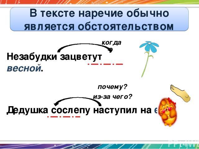 В тексте наречие обычно является обстоятельством Незабудки зацветут весной. Дедушка сослепу наступил на ежа. когда? почему? из-за чего?