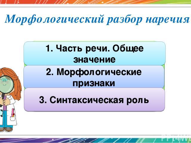 Морфологический разбор наречия 1. Часть речи. Общее значение 2. Морфологические признаки 3. Синтаксическая роль