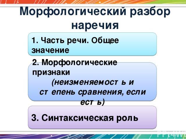 Морфологический разбор наречия 1. Часть речи. Общее значение 2. Морфологические признаки (неизменяемость и степень сравнения, если есть) 3. Синтаксическая роль