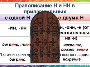Правописание Н и НН в прилагательных с одной Н с двумя Н -ин, -ян -енн, -онн, -н