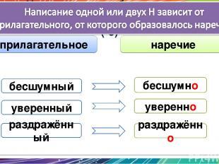 Наречия часто образуются от прилагательных с помощью суффикса -о (-е) уверенно у