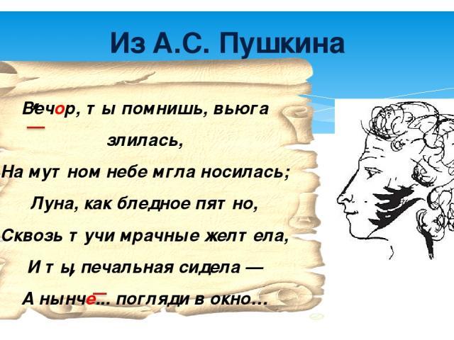 Из А.С. Пушкина Вечор, ты помнишь, вьюга злилась, На мутном небе мгла носилась; Луна, как бледное пятно, Сквозь тучи мрачные желтела, И ты печальная сидела — А нынче... погляди в окно…