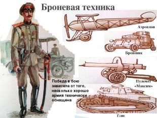 Броневая техника Аэроплан Броневик Пулемет «Максим» Танк Победа в бою зависела о