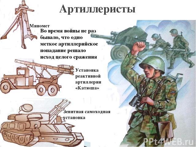 Артиллеристы Миномет Установка реактивной артиллерии «Катюша» Зенитная самоходная установка Во время войны не раз бывало, что одно меткое артиллерийское попадание решало исход целого сражения