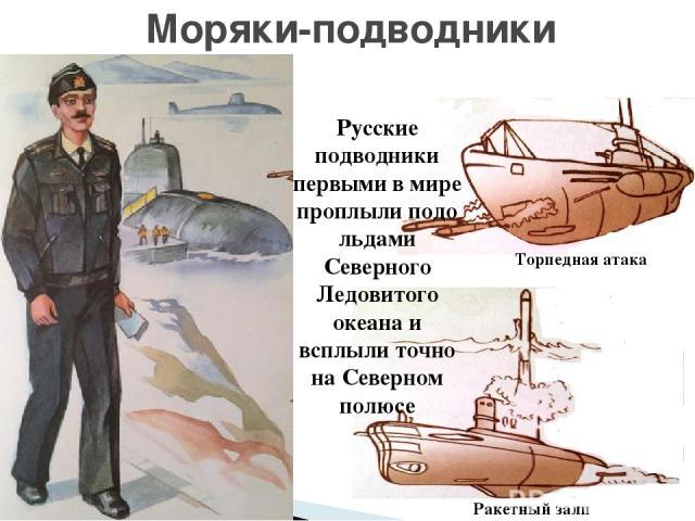 Моряки-подводники Русские подводники первыми в мире проплыли подо льдами Северного Ледовитого океана и всплыли точно на Северном полюсе Торпедная атака Ракетный залп