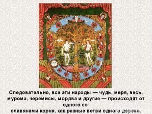 Следовательно, все эти народы — чудь, меря, весь, мурома, черемисы, мордва и дру