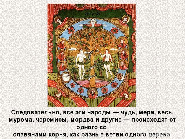 Следовательно, все эти народы — чудь, меря, весь, мурома, черемисы, мордва и другие — происходят от одного со славянами корня, как разные ветви одного дерева.