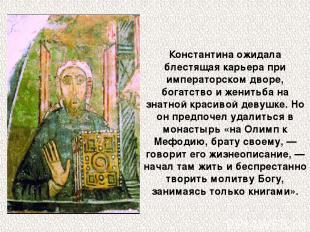 Константина ожидала блестящая карьера при императорском дворе, богатство и женит