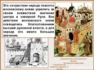 Строительство белокаменного Кремля Летописная миниатюра Это сочувствие народа по