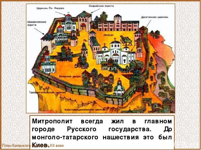 Митрополит всегда жил в главном городе Русского государства. До монголо-татарского нашествия это был Киев. План Киевского Кремля в XII веке