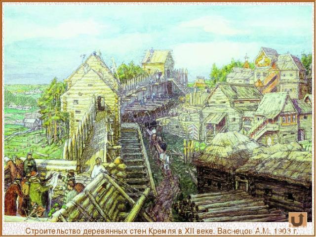 Строительство деревянных стен Кремля в ХII веке. Васнецов А.М. 1903 г.