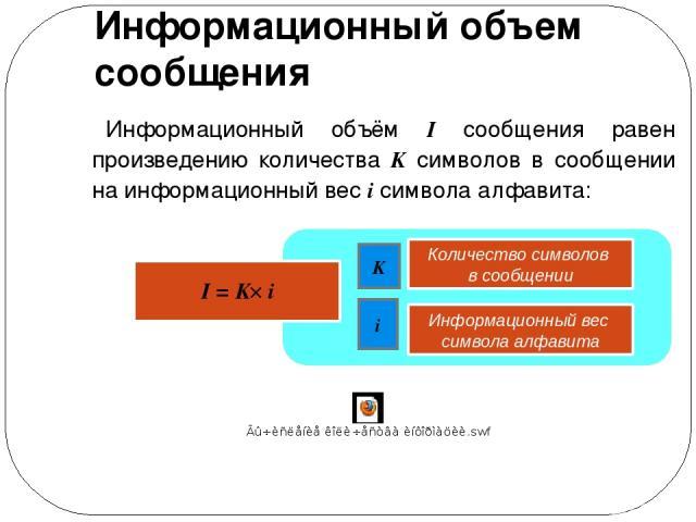 Информационный объем сообщения Информационный объём I сообщения равен произведению количества K символов в сообщении на информационный вес i символа алфавита: K i I = K i Количество символов в сообщении Информационный вес символа алфавита