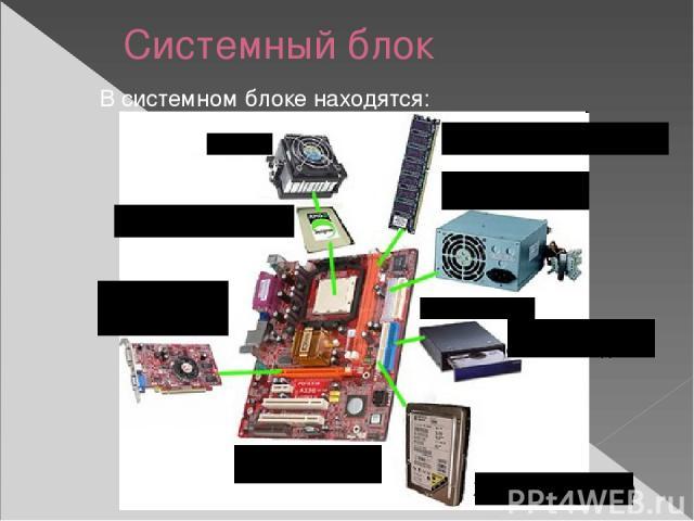Системный блок В системном блоке находятся: Процессор (CPU) Кулер Оперативная память (RAM) Блок питания Дисковод для оптических дисков Жёсткий диск (HDD) Материнская плата Видеокарта (Video Card)