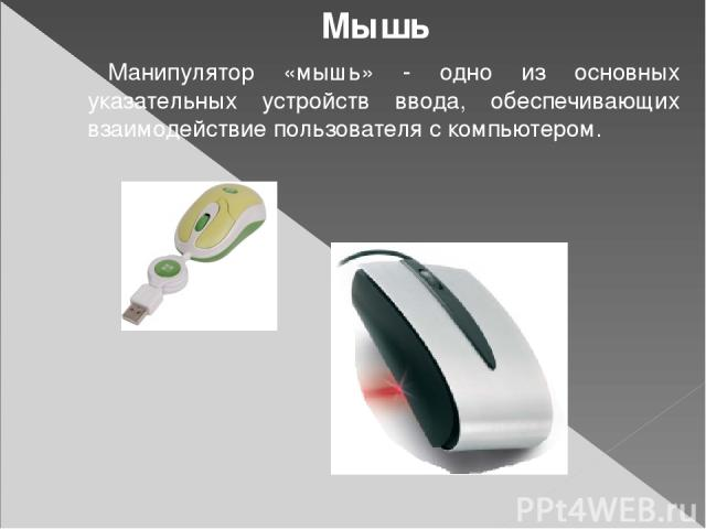 Мышь Манипулятор «мышь» - одно из основных указательных устройств ввода, обеспечивающих взаимодействие пользователя с компьютером.