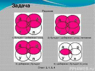 Задача 4) (доберман | бульдог) & уход 2) бульдог | доберман | уход | питомник 3)