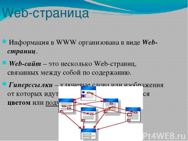 Web-страница Информация в WWW организована в виде Web-страниц. Web-сайт – это несколько Web-страниц, связанных между собой по содержанию. Гиперссылки – ключевые слова или изображения от которых идут гиперсвязи. Они выделяются цветом или подчёркиванием.