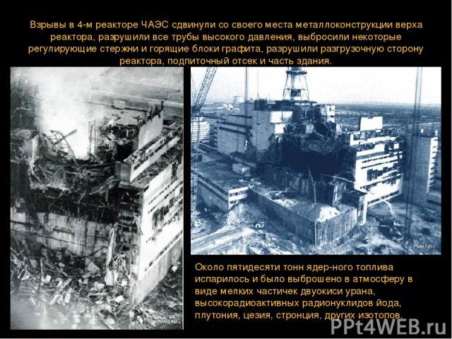 Взрывы в 4-м реакторе ЧАЭС сдвинули со своего места металлоконструкции верха реактора, разрушили все трубы высокого давления, выбросили некоторые регулирующие стержни и горящие блоки графита, разрушили разгрузочную сторону реактора, подпиточный отсе…