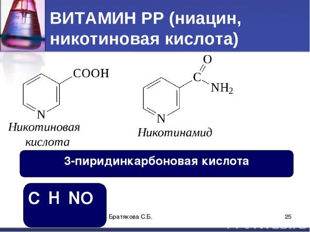 ВИТАМИН РР (ниацин, никотиновая кислота) C₆H₅NO₂ 3-пиридинкарбоновая кислота Братякова С.Б. * Братякова С.Б.