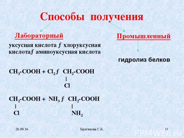 Способы получения Лабораторный Промышленный уксусная кислота →хлоруксусная кислота→аминоуксусная кислота СН3-СООН + Сl2 → СН2-СООН | Cl СН2-СООН + NH3 → СН2-СООН | | Сl NH2 гидролиз белков * Братякова С.Б. * Братякова С.Б.