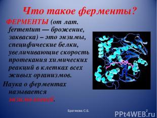 Что такое ферменты? ФЕРМЕНТЫ (от лат. fermentum — брожение, закваска) – это энзи