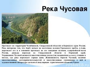 Протекает по территорииЧелябинской, Свердловскойобластей иПермского края Росс