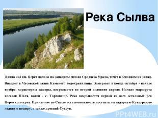 Длина 493 км. Берёт начало на западном склоне Среднего Урала, течёт в основном н