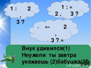 Внук удивился(1) Неужели ты завтра уезжаешь (2)бабушка(3) 1 : « 2 , 3 ? » «- 2 ,