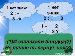 (1)И заплакали блюдца(2) Не лучше ль вернуться(3) 1 нет знака 2 : « 3 »? 1 нет з
