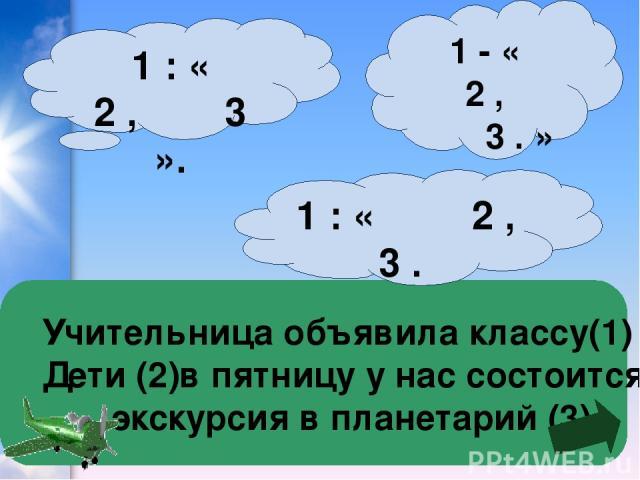 Учительница объявила классу(1) Дети (2)в пятницу у нас состоится экскурсия в планетарий (3) 1 : « 2 , 3 ». 1 : « 2 , 3 . 1 - « 2 , 3 . »