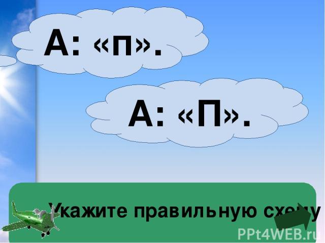 Укажите правильную схему А: «П». А: «п».