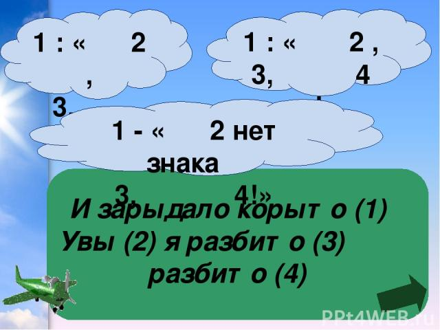 И зарыдало корыто (1) Увы (2) я разбито (3) разбито (4) 1 : « 2 , 3, 4 »! 1 : « 2 , 3, 4 !» 1 - « 2 нет знака 3, 4!»