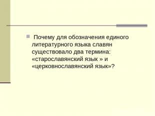 Почему для обозначения единого литературного языка славян существовало два терми