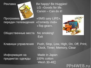 Реклама Be happy! Be Huggies! LG –Goods for life. Canon – Can do it! Программа «