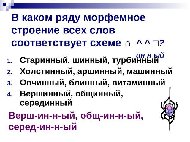 В каком ряду морфемное строение всех слов соответствует схеме ∩ ^ ^ □? ин н ый Старинный, шинный, турбинный Холстинный, аршинный, машинный Овчинный, блинный, витаминный Вершинный, общинный, серединный Верш-ин-н-ый, общ-ин-н-ый, серед-ин-н-ый