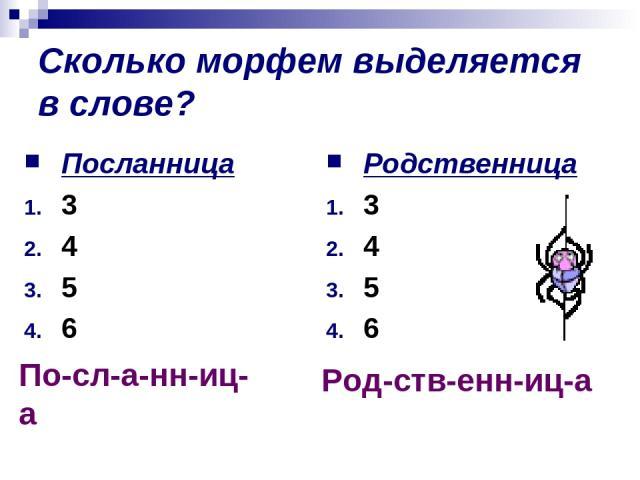 Сколько морфем выделяется в слове? Посланница 3 4 5 6 Родственница 3 4 5 6 По-сл-а-нн-иц-а Род-ств-енн-иц-а