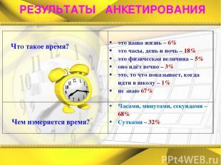 РЕЗУЛЬТАТЫ АНКЕТИРОВАНИЯ  Что такое время?  это наша жизнь – 6% это часы, ден