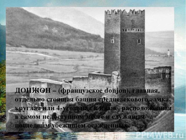 ДОНЖОН – (французское donjon), главная, отдельно стоящая башня средневекового замка, круглая или 4-угольная в плане, расположенная в самом недоступном месте и служащая последним убежищем осажденных.