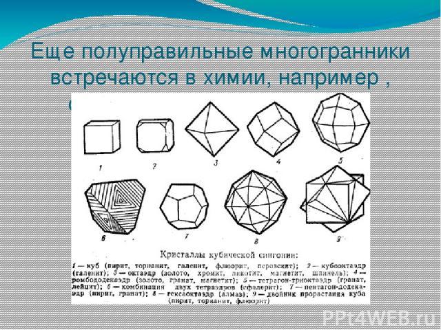 Еще полуправильные многогранники встречаются в химии, например , строение разных кристаллов.