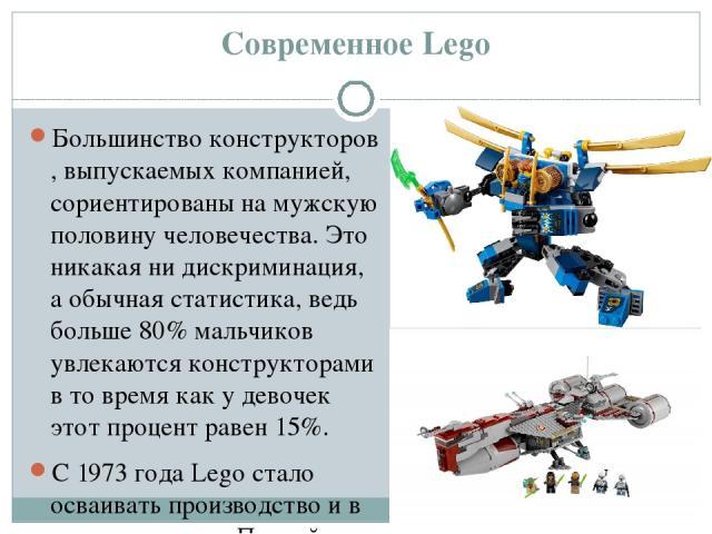 Современное Lego Большинствоконструкторов, выпускаемых компанией, сориентированы на мужскую половину человечества. Это никакая ни дискриминация, а обычная статистика, ведь больше 80% мальчиков увлекаются конструкторами в то время как у девочек этот…