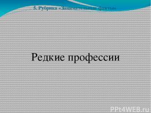 5. Рубрика «Занимательные факты» Редкие профессии