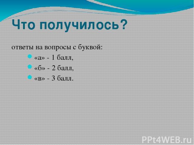 Что получилось? ответы на вопросы с буквой: «а» - 1 балл, «б» - 2 балл, «в» - 3 балл.