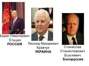 Борис Николаевич Ельцин РОССИЯ Леонид Макаревич Кравчук УКРАИНА Станислав Станис