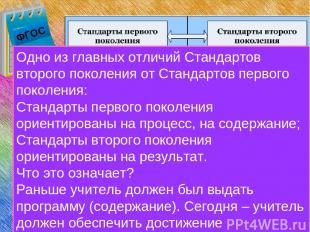 ФГОС ФГОС Одно из главных отличий Стандартов второго поколения от Стандартов пер