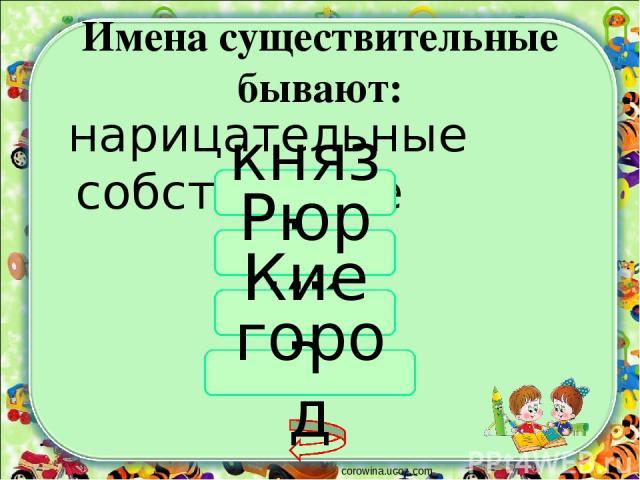 Имена существительные бывают: corowina.ucoz.com нарицательные собственные князь Рюрик Киев город