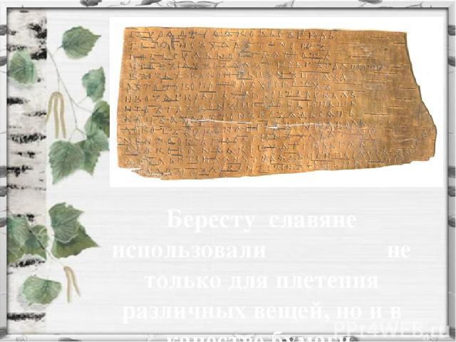 Бересту славяне использовали не только для плетения различных вещей, но и в качестве бумаги.