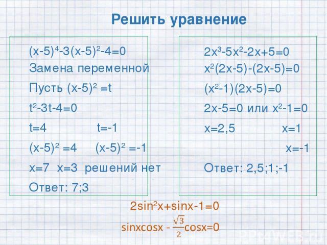 Решить уравнение (х-5)4-3(х-5)2-4=0 2х3-5х2-2х+5=0 2sin2x+sinx-1=0 х2(2х-5)-(2х-5)=0 (х2-1)(2х-5)=0 2х-5=0 или х2-1=0 х=2,5 х=1 х=-1 Ответ: 2,5;1;-1 Замена переменной Пусть (х-5)2 =t t2-3t-4=0 t=4 t=-1 (х-5)2 =4 (х-5)2 =-1 х=7 х=3 решений нет Ответ: 7;3