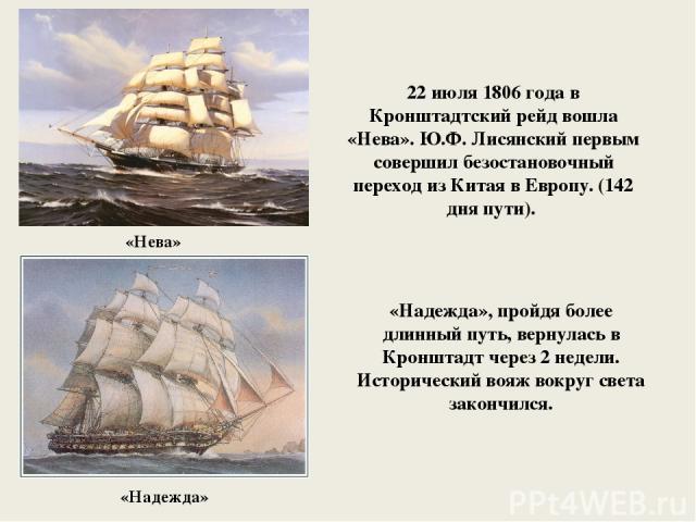 «Нева» 22 июля 1806 года в Кронштадтский рейд вошла «Нева». Ю.Ф. Лисянский первым совершил безостановочный переход из Китая в Европу. (142 дня пути). «Надежда» «Надежда», пройдя более длинный путь, вернулась в Кронштадт через 2 недели. Исторический …